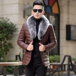 Men's 90% Duck Down Jackets Warm Fur Collar Leather Coat Pad