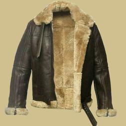 Men's Aviator RAF B3 Sheepskin Fur Shearling Leather Bomber