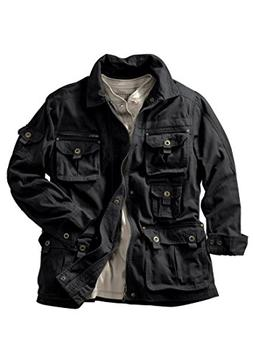Boulder Creek Men's Big & Tall Multi-Pocket Jacket, Black Bi