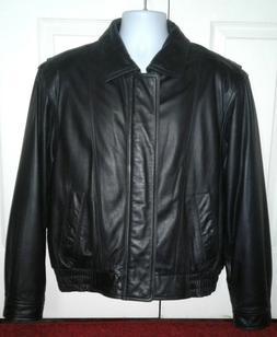 Men's LONDON FOG Black Full Zip 100% Leather Insulated Jacke