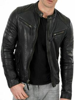 Men's Black Lambskin Jacket Cafe Racer  Slim fit Retro Biker