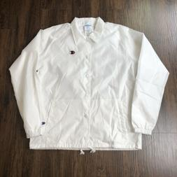 Champion Men's Button Up Coaches Windbreaker Jacket White Do