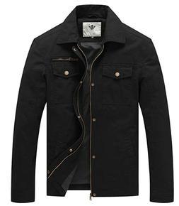 WenVen Men's Casual Canvas Cotton Military Lapel Jacket XL
