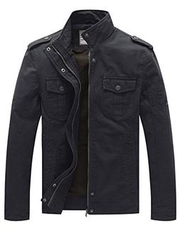 WenVen Men's Casual Cotton Military Jacket