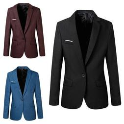 Men's Casual Slim Fit Formal One Button Suit Blazer Coat Jac