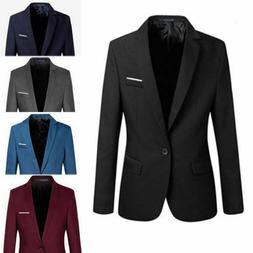 Men's Casual Slim Fit One Button Suit Blazer Business Coat J