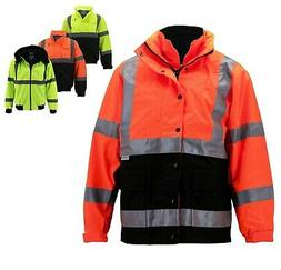 Men's Class 3 Safety High Visibility Water Resistant Reflect