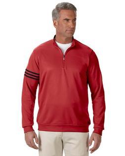 adidas Men's Climalite 3-Stripe 1/4 Zip, Red/Black, X-Large