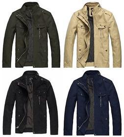 Wantdo Men's Cotton Stand Collar Lightweight Front Zip Jacke