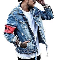 Men's Denim Jacket Ripped Distressed Jeans Jacket Rugged Tru