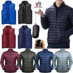 Men's Duck Down Jacket Packable Ultralight Puffer Coat Stand