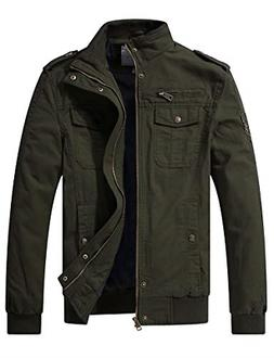 WenVen Men's Fall Casual Cotton Air Force Jacket