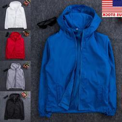 Men's Fashion Windbreaker ZIPPER Jacket Hoodie Sports Outwea
