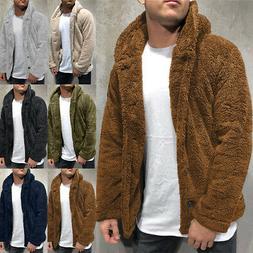 Men's Faux Fur Fleece Hooded Parka Winter Thicken Jacket War