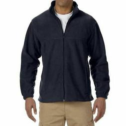 Men's Full Zip Fleece Jacket in Navy - 5XL