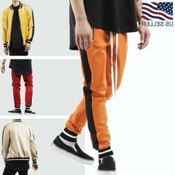 Men's Hip Hop Poly Side Long Drawstring Techno Track Pants S