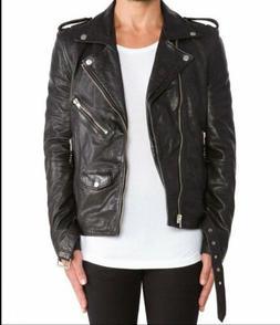 Men's Leather Jacket Biker 100% Real Lambskin Slim Fit Mens