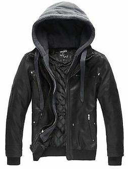 Wantdo Men's Leather Jacket with Removable Hood US Large Bla