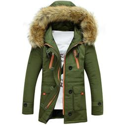SUURIN Men's Lengthened Fur Hooded Down Coats Heavy Parka Wi