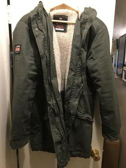 Superdry Men's Olive Rookie Winter Military Sherpa Lined Hoo