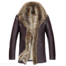 Men's Real Raccoon Fur Collar Parka Genuine Leather Winter J