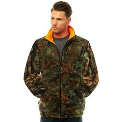 MEN'S REVERSIBLE CAMO & BLAZE ORANGE FLEECE HUNTING JACKET -