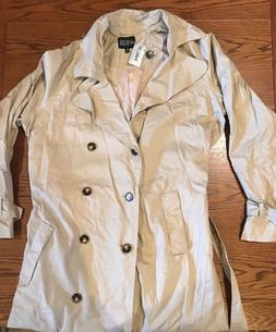Men's Hot Topic Rude Trench Coat Sz XL Beige Full Length Jac