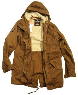 Superdry Men's Rusty Gold Brown New Military Parka Hooded Ja