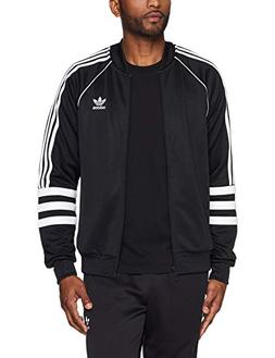 adidas Originals Men's Striped Sleeve Track Jacket, Black/Wh