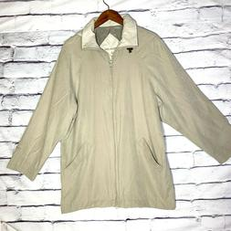 London Fog Men's Tan Lined Hooded Coat Jacket Size Large