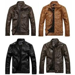 Chouyatou Men's Vintage Stand Collar Full Zip Pu Leather Jac