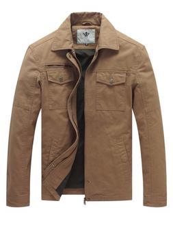 WenVen Men's Vintage Trucker Jacket Khaki, L