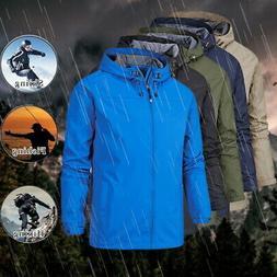 Men's Waterproof Jacket Windproof Lightweight Hooded Mountai