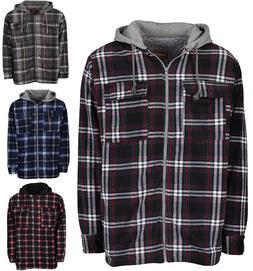 Men's Winter Jacket Hoodie Sherpa Fleece Lined Flannel Jacke