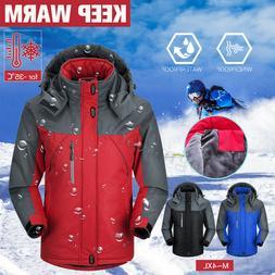 Men's Winter Ski Waterproof Outdoor Coat Fleece Lined Ski Su