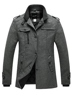 Wantdo Men's Winter Stylish Wool Pea Coat Single Breasted Wa