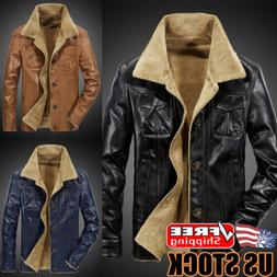 Men's Winter Warm Thick Fur Lining Button Down Coat Leather