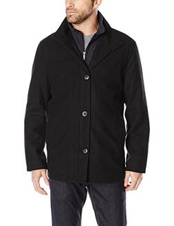 London Fog Men's Wool Blend Car Coat with Bib, Black/Grey HE