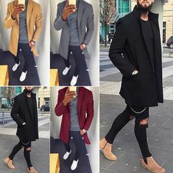 Men's Wool Winter Trench Coat Outwear Fashion Overcoat Long