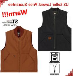 Men Sandstone Canvas Quilted Thermal Lined Work Duck Vest In