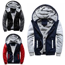 Mens Thick Fleece Lined Hoodie Sweatshirt Warm Coat Parka Ja