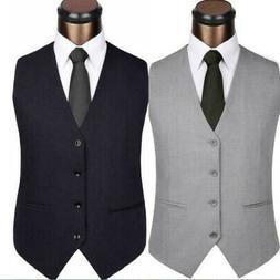 Men V-Neck Sleeveless Slim Jacket Casual Business Formal Sui