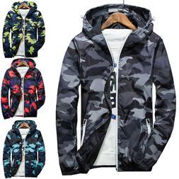 Men Waterproof Windbreaker Camo Hoodie Zip Jacket Hooded Swe