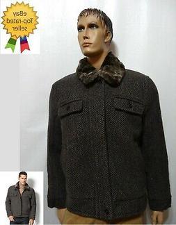 Tasso Elba men Winter Cold Weather Coat Wool Mix Herringbone