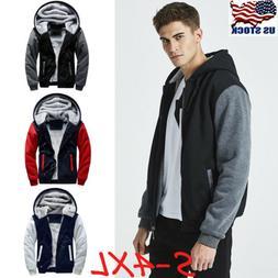 Men Winter Thick Warm Fleece Fur Lined Hoodie Zip Up Coat Ja