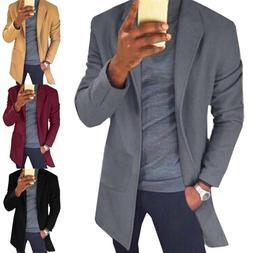 Men Winter Warm Wool Lapel Trench Coat Blazer Suit Outwear L