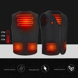 Men Women Electric USB Heated Vest Winter Skiing Warm Heatin