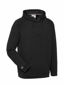 Champion Mens 1/4 Zip Tech Fleece Hooded Sweatshirt, Black,