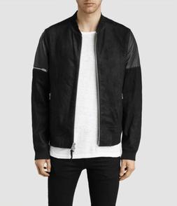 Mens Allsaints Akio Leather Bomber Jacket Black XS
