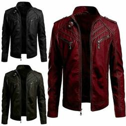 Mens Autumn Coats Leather Jacket Street Style Cool Motorcycl